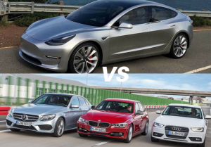 Tesla Model 3 vs Audi A4, BMW 3 series, Mercedes-Benz C-Class